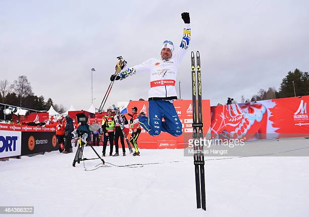 Johan Olsson of Sweden celebrates winning the gold medal in the Men's 15km Cross-Country during the FIS Nordic World Ski Championships at the Lugnet...