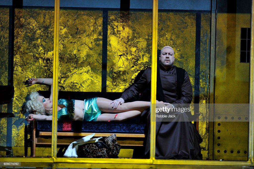 Johan Reuter as Siskov and Allison Cook as Prostitute, in the Royal Opera's production of Leos Janacek's From the House of the Dead directed by Krzysztof Warlikowski and conducted by Mark Wigglesworth at the Royal Opera House on March 6, 2018 in London, England.