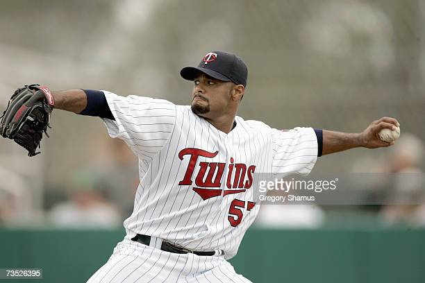 Johan Santana of the Minnesota Twins delivers the pitch during a Spring Training game against the Boston Red Sox on March 4 2007 at Hammond Stadium...