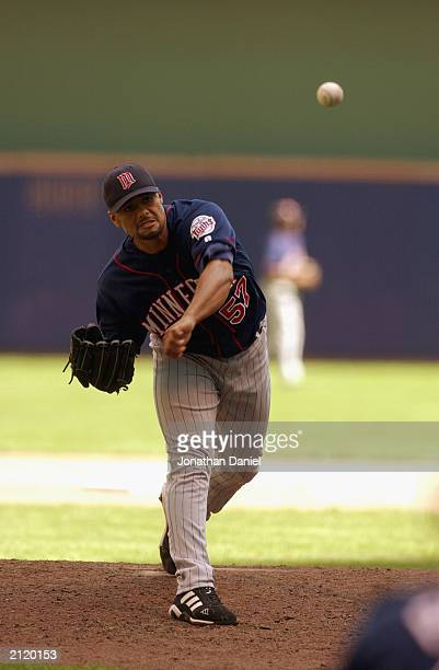 Johan Santana of the Minnesota Twins delivers the pitch during the interleague game against the Milwaukee Brewers on June 22 2003 at Miller Park in...