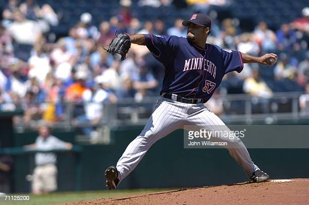 Johan Santana of the Minnesota Twins pitches during the game against the Kansas City Royals at Kauffman Stadium in Kansas City Missouri on April 27...