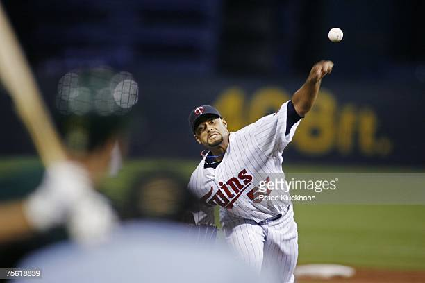 Johan Santana of the Minnesota Twins pitches in a game against the Oakland Athletics at the Humphrey Metrodome in Minneapolis Minnesota on July 13...