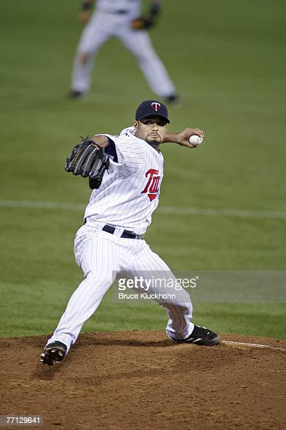 Johan Santana of the Minnesota Twins pitches in a game against the Chicago White Sox at the Humphrey Metrodome in Minneapolis, Minnesota on September...