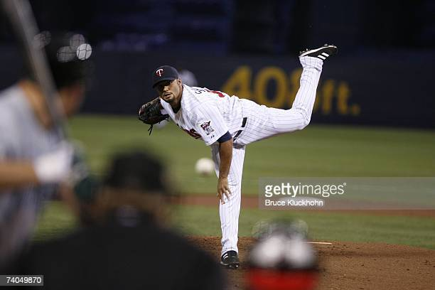 Johan Santana of the Minnesota Twins pitches in the game against the Tampa Bay Devil Rays at the Humphrey Metrodome in Minneapolis Minnesota on April...