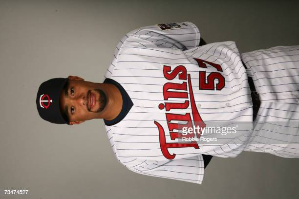 Johan Santana of the Minnesota Twins poses during photo day at Hammond Stadium on February 26 2007 in Ft Myers Florida