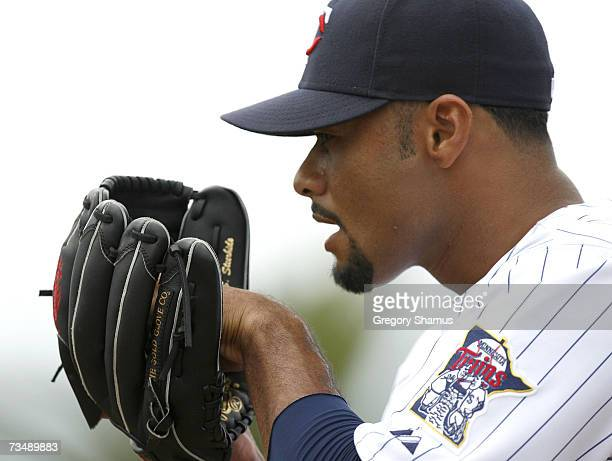 Johan Santana of the Minnesota Twins warms up prior to a Spring Training game against the Boston Red Sox on March 4 2007 at Hammond Stadium in Ft...