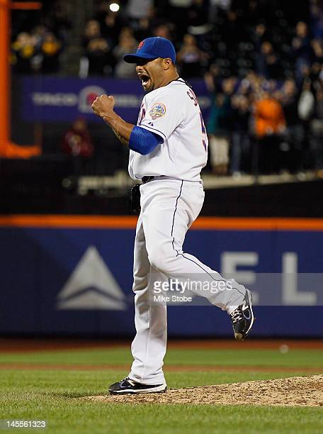 Johan Santana of the New York Mets celebrates after pitching a no hitter against the St. Louis Cardinals at Citi Field on June 1, 2012 in the...