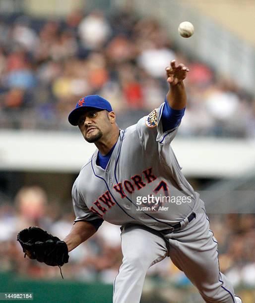 Johan Santana of the New York Mets pitches against the Pittsburgh Pirates during the game on May 21 2012 at PNC Park in Pittsburgh Pennsylvania