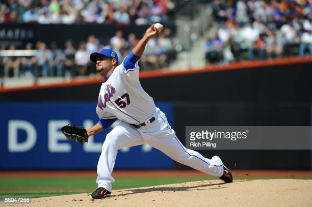 Johan Santana of the New York Mets pitches during the game against the Milwaukee Brewers at Citi Field in Flushing New York on Saturday April 18 2009...
