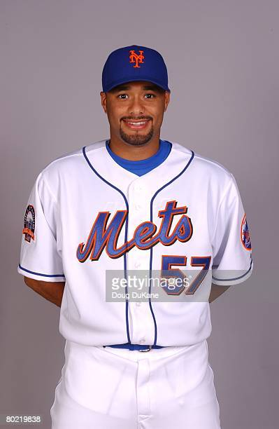 Johan Santana of the New York Mets poses for a portrait during photo day at Mets Stadium on February 23 2008 in Port St Lucie Florida
