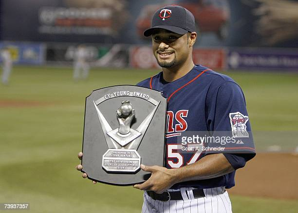 Johan Santana of the Twins receives the 2006 Cy Young Award on April 14, 2007 at the Metrodome in Minneapolis, Minnesota.