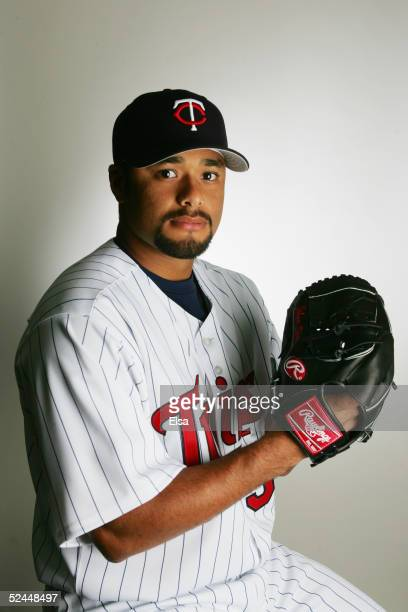 Johan Santana poses for a portrait during the Minnesota Twins Portrait Day on February 28 2005 at Hammond Stadium in Ft Myers Florida