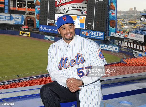Johan Santana sits in the press box at Shea Stadium after his introduction by the New York Mets on Ferbruary 6 2008 in the Flushing neighborhood of...