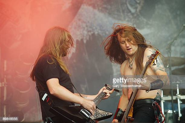 Johan Söderberg and Ted Lundstrom of Amon Amarth performs on stage on the last day of Bloodstock Open Air festival at Catton Hall on August 16 2009...