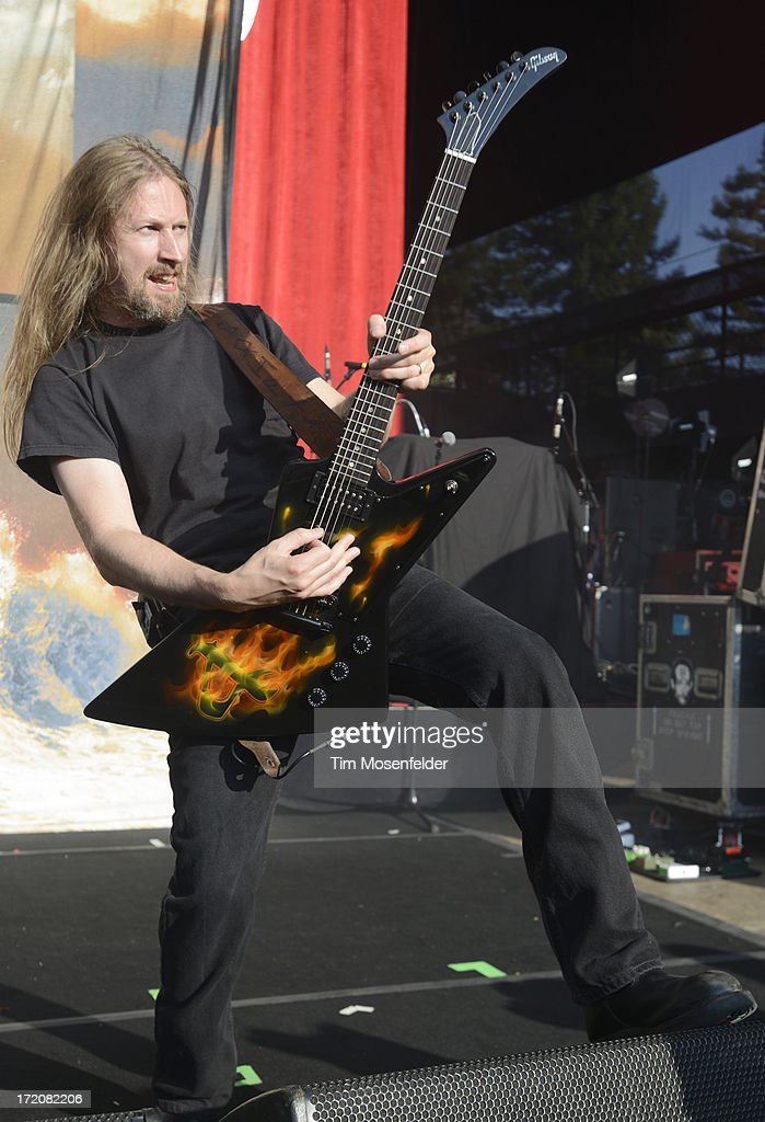 Johan Soderberg of Amon Amarth performs as part of the Rockstar Energy Drink Mayhem Festival at Shoreline Amphitheatre on June 30, 2013 in Mountain View, California.