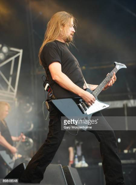 Johan Soderberg of Amon Amarth performs on stage on the last day of Bloodstock Open Air festival at Catton Hall on August 16 2009 in Derby England