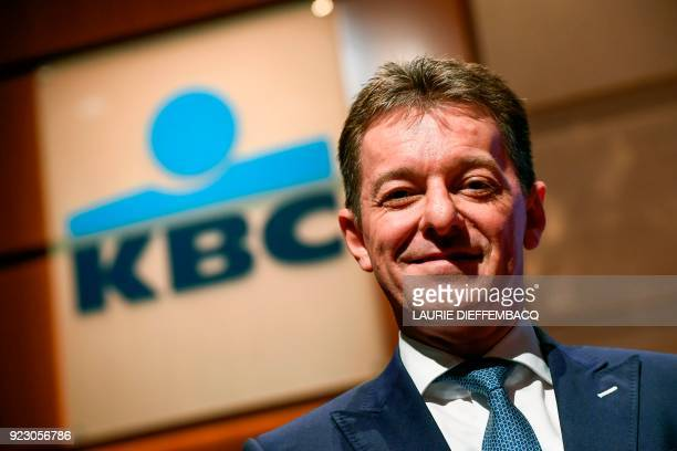 Johan Thijs poses during a press conference to present the 2017 year results of the financial institution KBC Group at KBC headquarters in Brussels...