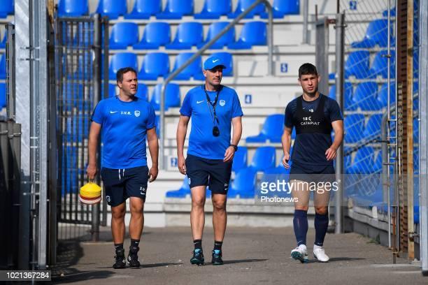 Johan Van Rumst Philippe Clement head coach of KRC Genk Ruslan Malinovskyi midfielder of KRC Genk during a training before the UEFA Europa League...
