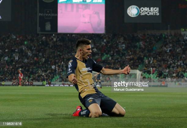Johan Vasquez of Pumas celebrates after scoring his team's first goal during the 4th round match between Santos Laguna and Pumas UNAM as part of the...