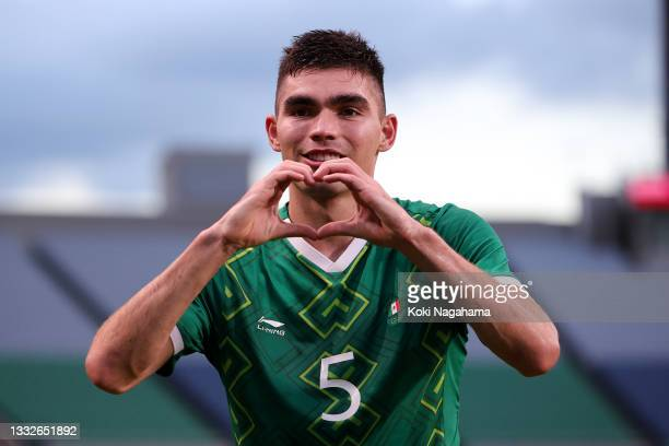 Johan Vasquez of Team Mexico celebrates after scoring their side's second goal during the Men's Bronze Medal Match between Mexico and Japan on day...