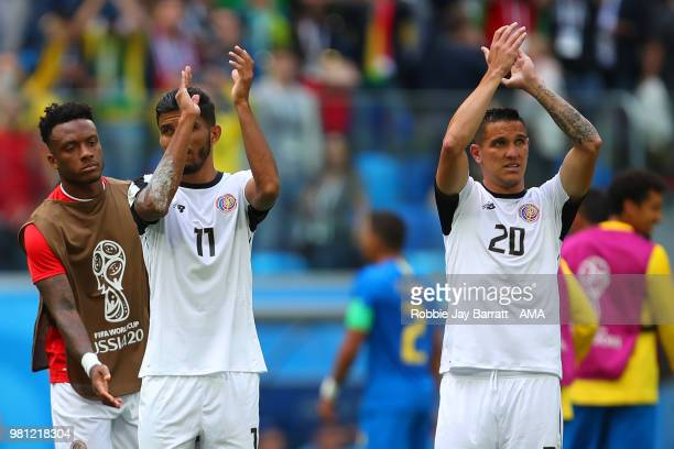 Johan Venegas of Costa Rica and David Guzman of Costa Rica applaud at the end of the 2018 FIFA World Cup Russia group E match between Brazil and...