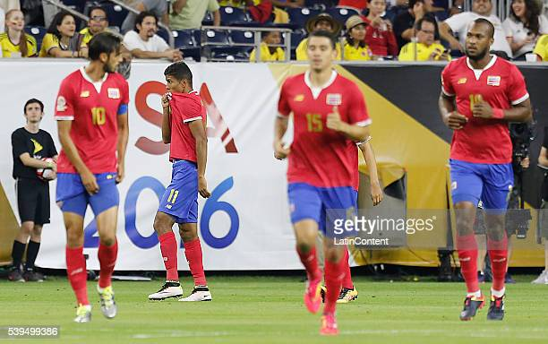 Johan Venegas of Costa Rica celebrates after scoring a goal against Colombia in the first half in group A match between Colombia and Costa Rica at...