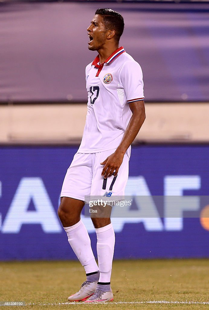 Johan Venegas #17 of Costa Rica reacts in the second half against Mexico during the quarterfinals of the 2015 CONCACAF Gold Cup at MetLife Stadium on July 19, 2015 in East Rutherford, New Jersey.