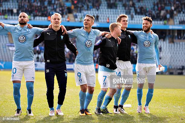 Johan Wiland Franz Brorsson Markus Rosenberg Anders Christiansen Vidar Kjarnasson and Erdal Rakip of Malmo celebrate with the fans after the...