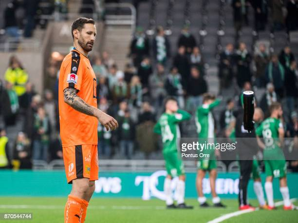 Johan Wiland goalkeeper of Hammarby IF during the Allsvenskan match between Hammarby IF and Halmstad BK at Tele2 Arena on November 5 2017 in...