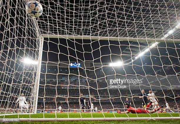 Johan Wiland of Malmo FF fails to stop Cristiano Ronaldo of Real Madrid scoring Real's 3rd goal during the UEFA Champions League Group A match...
