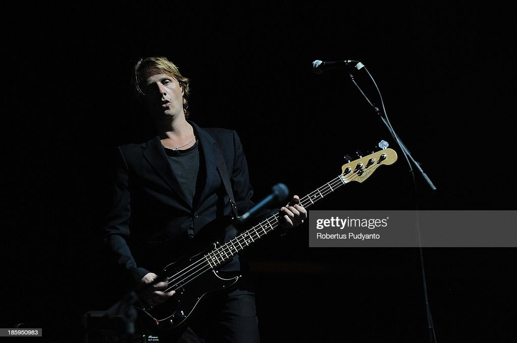 Johan Wohlert of Mew rock band performs at the annual Guinness Arthur's Day at JIEXPO Kemayoran on October 26, 2013 in Jakarta, Indonesia. Arthur's Day sees fans come together to experience live music and cultural events all over the world in celebration of Arthur Guinness, the founder of Guinness brewing.