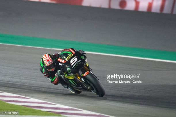 Johan Zarco who rides Yamaha for Monster Yamaha Tech 3 leading the race during the Grand Prix of Qatar at the Losail International Circuit north of...