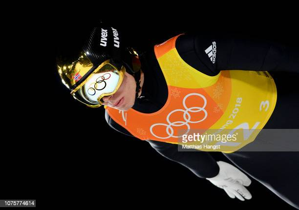 Johann Andre Forfang of Norway competes during the Ski Jumping Men's Team Large Hill on day 10 of the PyeongChang 2018 Winter Olympic Games at...