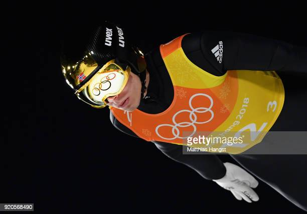 Johann Andre Forfang of Norway competes during the Ski Jumping - Men's Team Large Hill on day 10 of the PyeongChang 2018 Winter Olympic Games at...