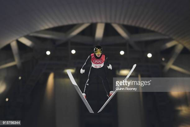 Johann Andre Forfang of Norway competes in the Men's Normal Hill Individual Qualification at Alpensia Ski Jumping Centre on February 8 2018 in...