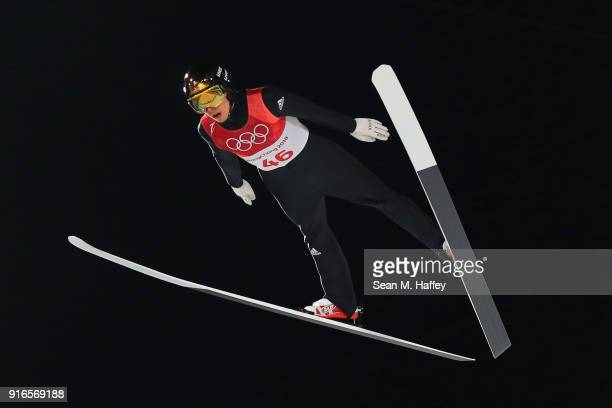 Johann Andre Forfang of Norway jumps during the Ski Jumping Men's Normal Hill Individual Final on day one of the PyeongChang 2018 Winter Olympic...