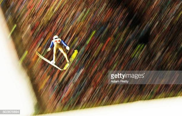 Johann Andre Forfang of Norway soars through the air during his 1st round jump on Day 2 of the 64th Four Hills Tournament on December 29 2015 in...