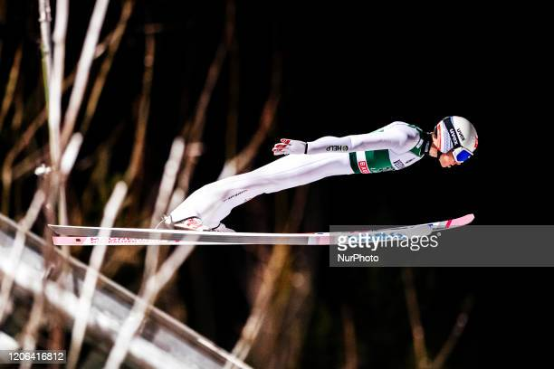 Johann Andre Forfang soars in the air during the first round of the Men Large Hill Individual HS130 of the FIS Ski Jumping World Cup in Lahti,...
