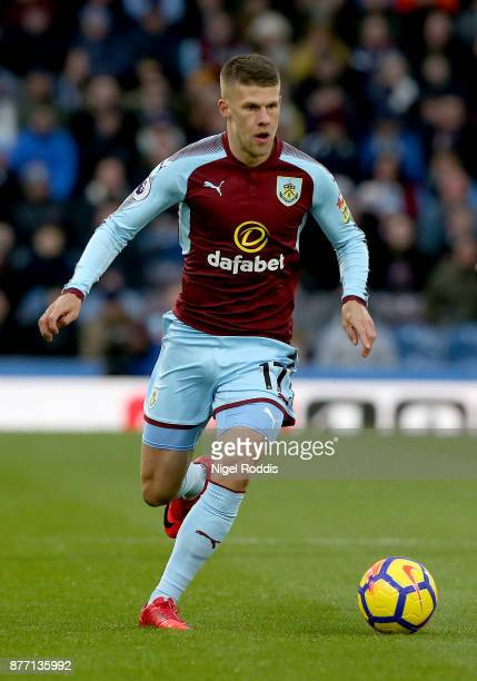 Johann Berg Gudmundsson of Burnley during the Premier League match between Burnley and Swansea City at Turf Moor on November 18 2017 in Burnley...