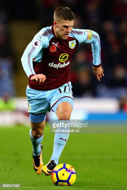 Johann Berg Gudmundsson of Burnley in action during the Premier League match between Burnley and Newcastle United at Turf Moor on October 30 2017 in...