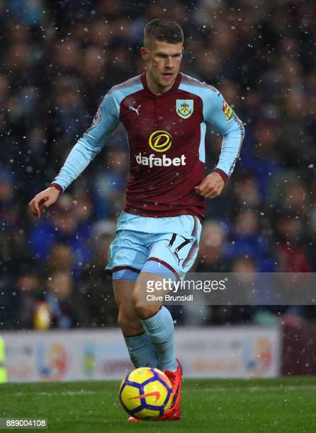 Johann Berg Gudmundsson of Burnley in action during the Premier League match between Burnley and Watford at Turf Moor on December 9 2017 in Burnley...
