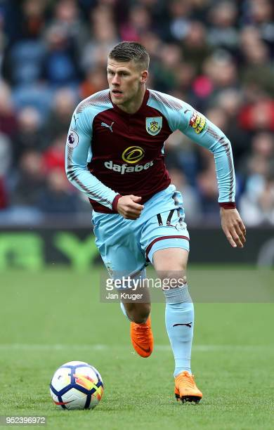 Johann Berg Gudmundsson of Burnley in action during the Premier League match between Burnley and Brighton and Hove Albion at Turf Moor on April 28...