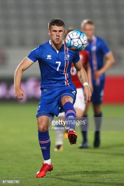 Johann Berg Gudmundsson of Iceland in action during the international friendly match between Iceland and Czech Republic at Abdullah bin Khalifa...