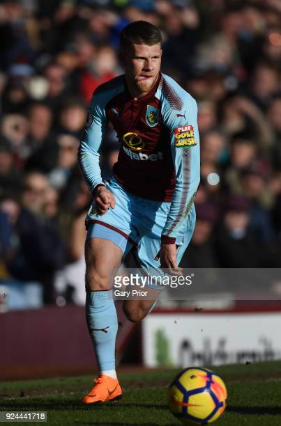 Johann Berg Gudmundsson runs with the ball during the Premier League match between Burnley and Southampton at Turf Moor on February 24 2018 in...