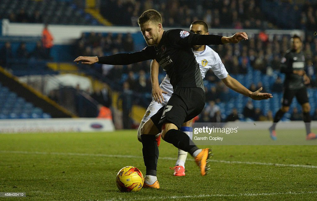 Johann Berg Guomundsson of Charlton Athletic scores his team's first goal during the Sky Bet Championship match between Leeds United and Charlton Athletic at Elland Road on November 4, 2014 in Leeds, England.