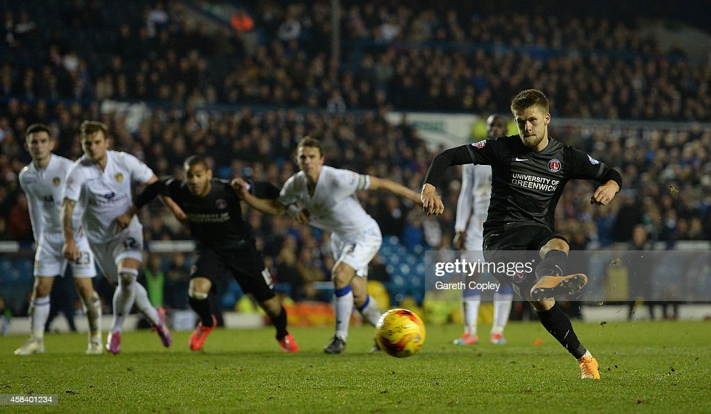 Johann Berg Guomundsson of Charlton Athletic scores his team's second goal from the spot during the Sky Bet Championship match between Leeds United and Charlton Athletic at Elland Road on November 4, 2014 in Leeds, England.