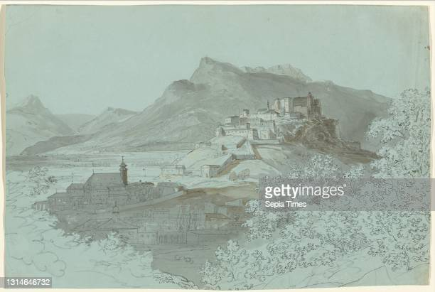 Johann Georg von Dillis, , German, 1759 - 1841, View of Salzburg, 1820s, pen and gray ink with gray and brown washes, heightened with pink, over...