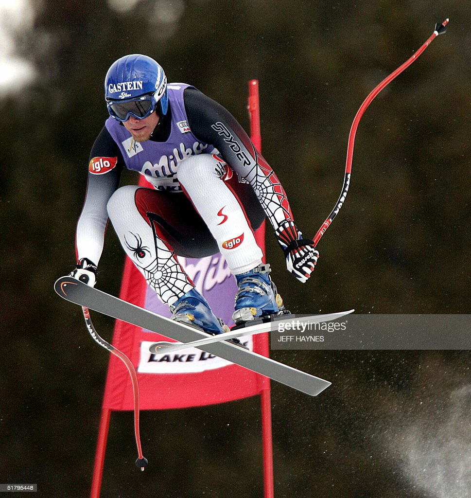 Johann Grugger of Austria skies past a gate on the Men's Downhill course 26 November, 2004 during the third training run at the Lake Louise Ski Resort in Lake Louise, Canada the site of the first men's downhill of the season. Grugger had a time of 1:46.02 to place fourth in the training run. The first downhill will take place on 27 November 2004.