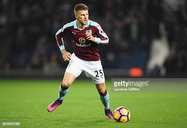 Johann Gudmundsson of Burnley in action during the Premier League match between West Bromwich Albion and Burnley at The Hawthorns on November 21 2016...