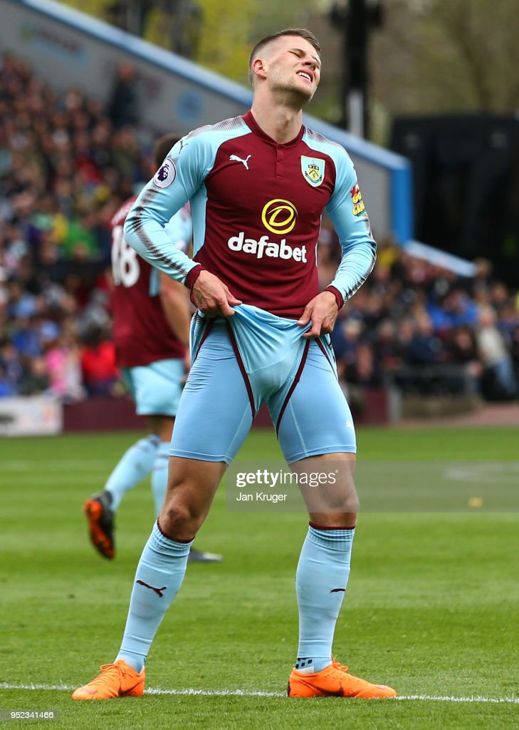 Johann Gudmundsson of Burnley reacts after a miss during the Premier League match between Burnley and Brighton and Hove Albion at Turf Moor on April 28, 2018 in Burnley, England.